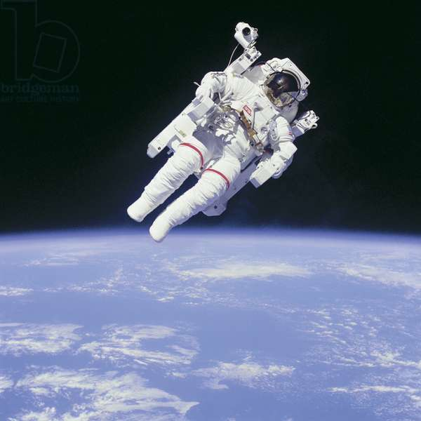 Astronaut Bruce McCandless II in space