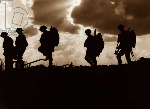 Men of the 8th Battalion, East Yorkshire Regiment going up to the line near Frezenberg during the Third Battle of Ypres, 5th October 1917 (b/w photo)