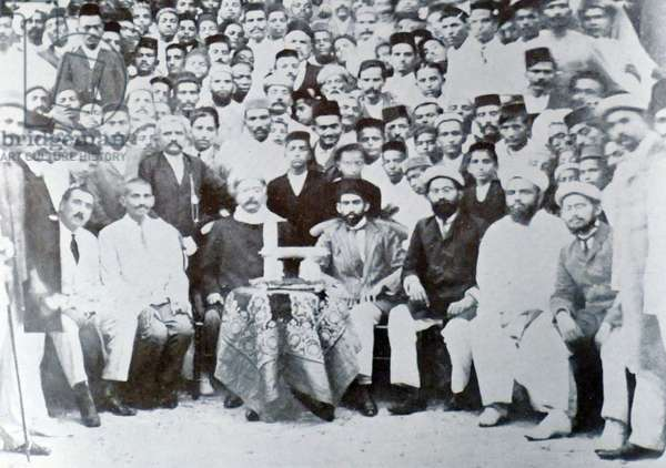 Mohandas Gandhi with Kallenbach and Gokhale (seated front row) during the visit by Gokhale to the Indian community in South Africa, 1912