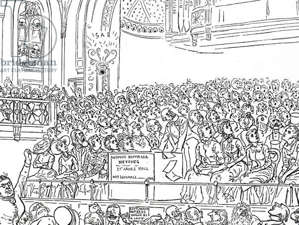 Cartoon commenting on the women's suffrage movement - Women's suffrage meeting in St James' Hall, London, 20th century