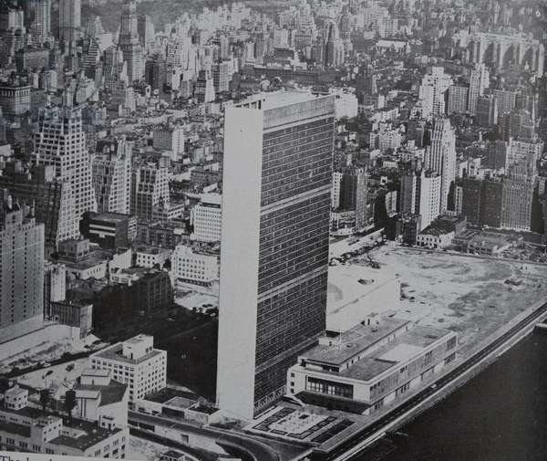 The headquarters of the United Nations Organisation in Manhattan, New York.