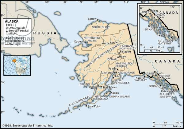 Political map of Alaska