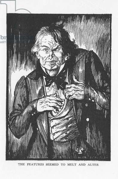 Robert Louis Stevenson The Strange Case of Dr Jekyll and Mr Hyde first published 1886. Hyde, having taken the antidote, the features seemed to melt and alter and he is transformed back into Dr Jekyll. Illustration by Edmund J. Sullivan from an edition published 1928.