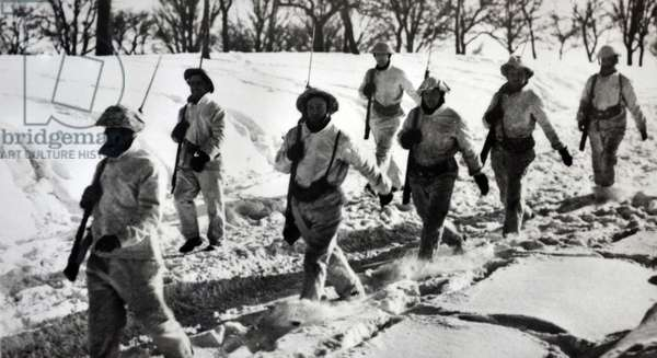 British soldiers on the western front winter 1939 World War Two.