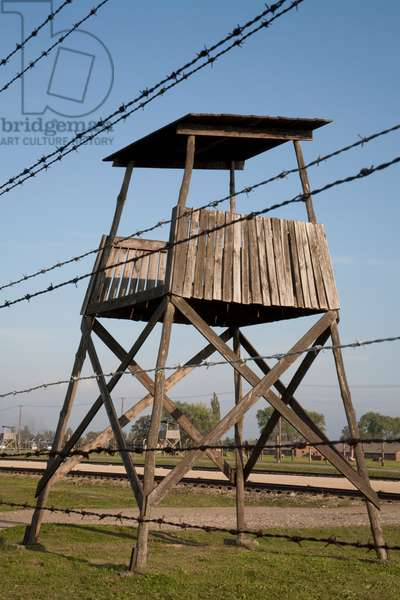 Watchtower Along the 'selektionsrampe', the Platform Where People Where Selected to Die in the Gas Chambers Immediately Or to Work to Death at the Auschwitz-Birkenau Concentration Camp, Auschwitz-Birkenau Concentration Camp, Oswiecim, Malopolska, Poland (photo)