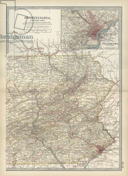 Map of Pennsylvania with inset map of Philadelphia