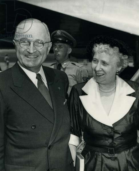 Portrait of Harry and Bess Truman, Washington, DC, Summer 1952 (b/w photo)