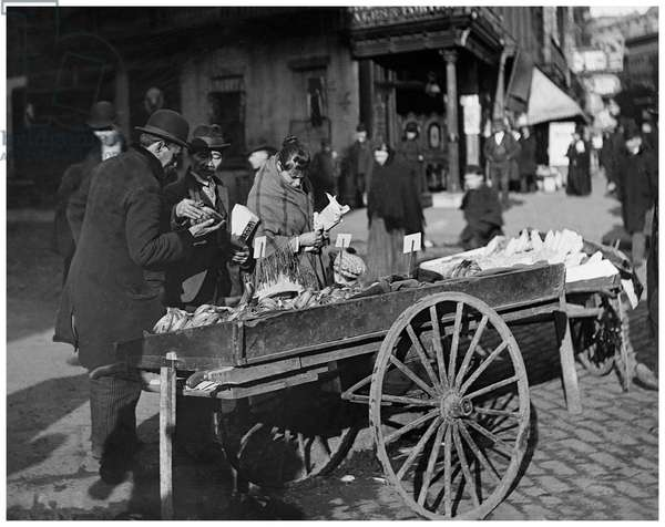 A banana cart (b/w photo)