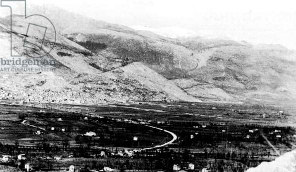 Second World War-Italy 1944 February 1944 Monte Trocchio in the valley north of Cassino battles just before the first battle of Monte Cassino
