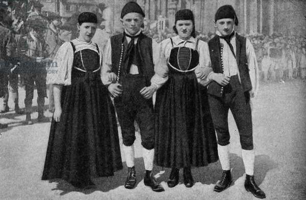 Germany. Loyalty of the Württemberg to the old-fashioned rural costume. 1920