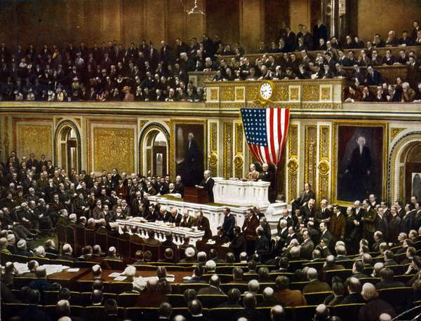 World War I 1914-1918. President Woodrow Wilson asking Congress to declare war on Germany, April 2, 1917. America USA Government