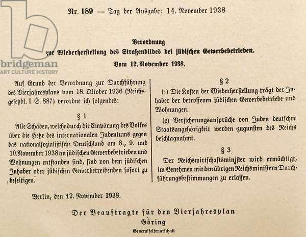 Nazi era, German Government announcement, by Hermann Goring after Kristallnacht