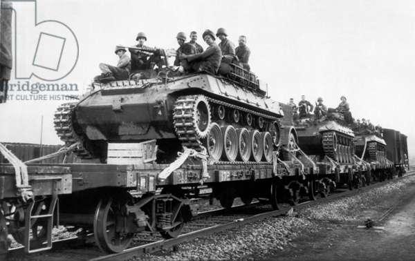 Equipment To The Korean Front, Korea, c.1950 (b/w photo)