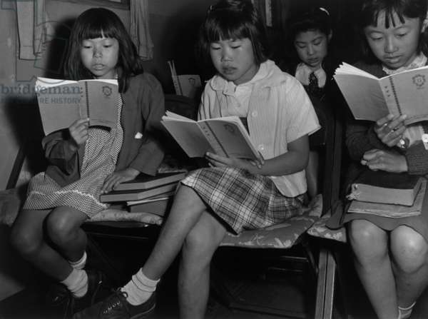 Children at Sunday school class, Manzanar Relocation Center, 1943 (photo)