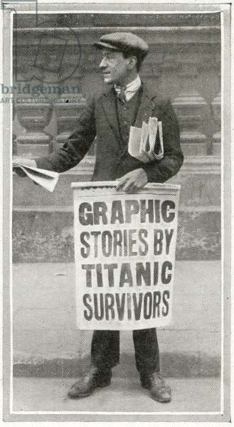 How the news of the sinking of the Titanic reached Londoners, from 'The Sphere', 27 April 1912 (litho) (detail of 450814)