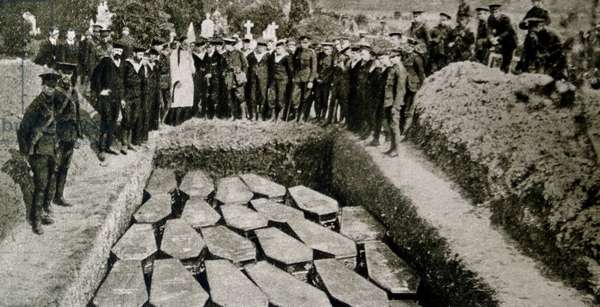 The coffins of some of the victims of the sinking of the RMS Titanic.