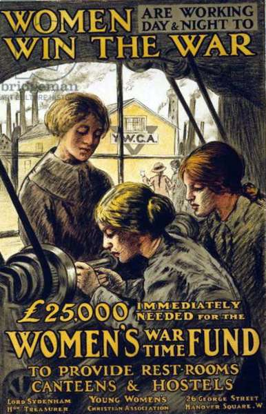 Wold war one Poster showing women at work. This was a propaganda poster in England during the First World War. dated 1915-17