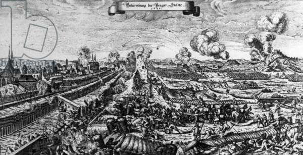 Thirty Years War. Period Engraving By Czech Artist Karel Skreta Depicting Protestant Swedish Army Trying To Take Over Prague In 1648.
