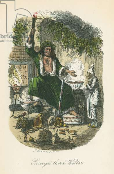 The Ghost of Christmas Present appearing to Scrooge. Illustration by John Leech (1817-64) for Charles Dickens A Christmas Carol, London 1843-1834.