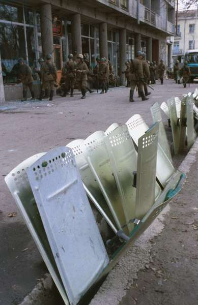 Riot Shields of the Interior Ministry Troops Lined Up on a Street in Dushanbe, Tajikistan, February 1, 1990.
