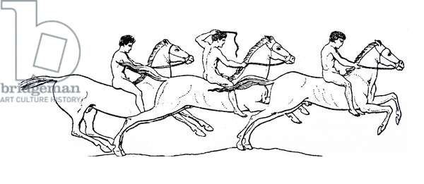 Drawing depicting nude men riding horses in ancient Rome