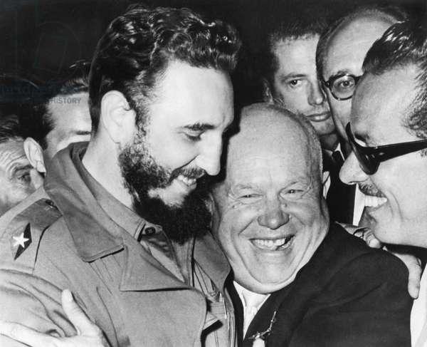 Khrushchev And Castro (b/w photo)