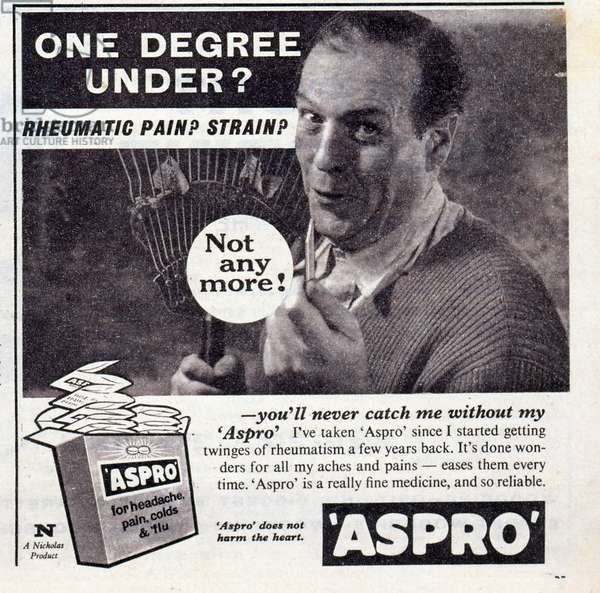 1960's advert for Aspro, medicine for Coughs and headaches