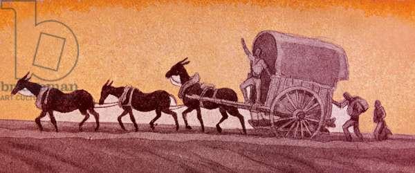 Illustration of Spanish Nationalist refugees escape