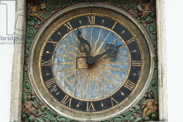 Close-Up of A Clock at Holy Spirit Church in Tallinn, Estonia (photo)