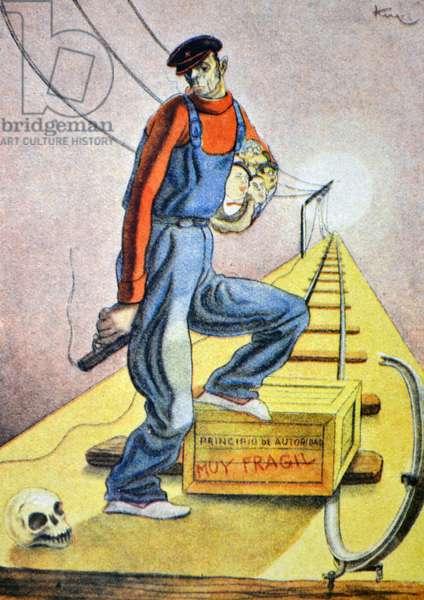 The Spanish Republic is governed by a legal and legitimate government. Spanish Civil war, anti-republican propaganda illustration by Carlos Sáenz de Tejada
