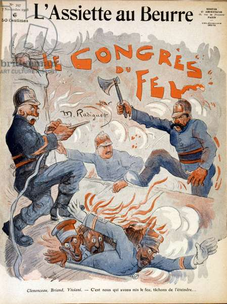 French statesmen Aristide Briand, Georges Clemenceau and Rene Viviani, 1908 (illustration)