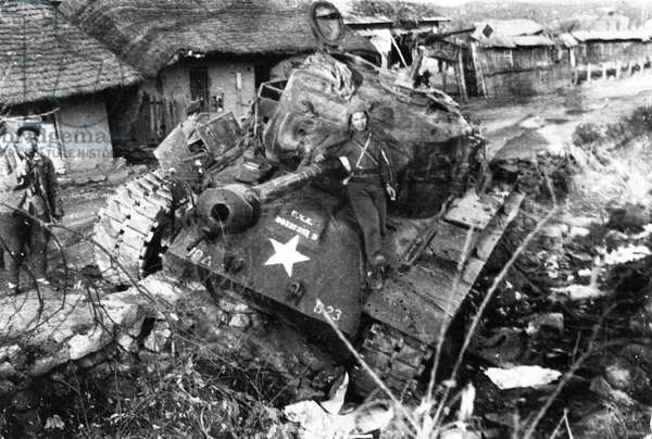 Korean War. A medium tank of the American First Cavalry Division captured by the Chinese People's Volunteers during the Battle of Wensan.