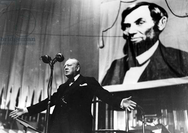 Winston Churchill speaking at the Royal Albert Hall, 1944 (b/w photo)