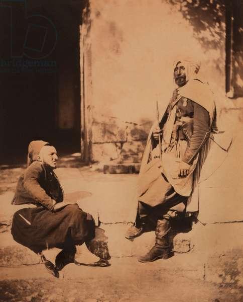 Full-Length Portrait of Seated Zouave, and Standing Spahi Officer, Portrait, Crimean War, Crimea, Ukraine, 1855 (b/w photo)