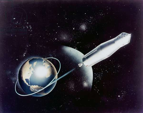 Manned Space Flight, USA, Apollo, General ArtistÕs impression of an early Apollo mission concept, 1968