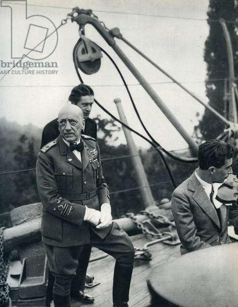 Gabriele D'Annunzio at the Vittoriale on the Light cruiser Puglia