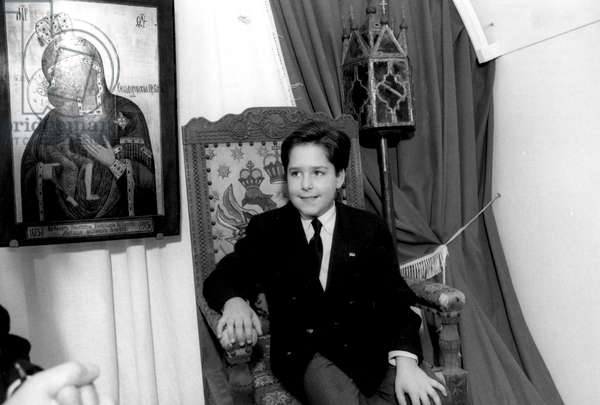 Kostroma, Russia 9/92: 11-Year-Old Grand Duke Georgy Mikhailovich Romanov Sits in the Czar'S Chair in the Ipatyevsky Monastery, Where the First Romanov, Mikhail, Sheltered his Mother in 1613 During the Time of Troubles.