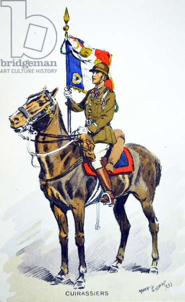 French world war two postcard showing a cavalry officer with banner
