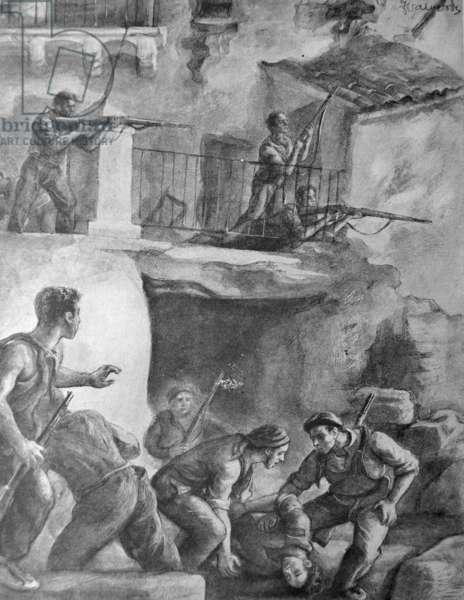 Spanish Civil War: nationalist forces in street fighting in Spain. drawing by Joaquin Valverde