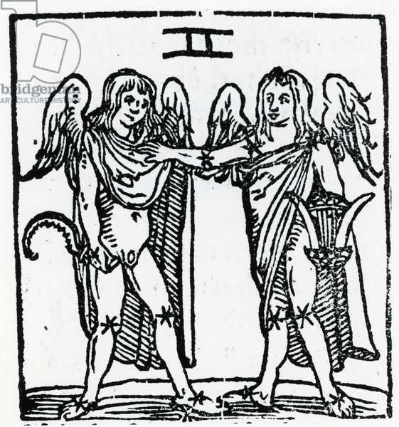 Zodiac sign of Gemini. From ''Sphaera mundi'', Strasburg, 1539