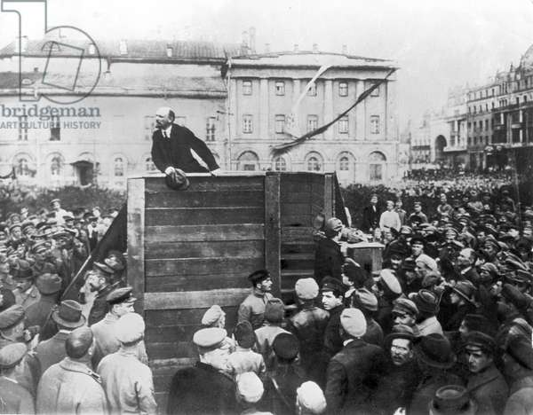 V, I, Lenin Speaking to Red Army Troops Leaving for the Front (Civil War Period), Sverdlov Square, Moscow, May 5Th 1920, this is an Altered Image: the Figure of Leon Trotsky Standing in the Area with Steps Behind the Speakers' Platform has Been Painted Out.