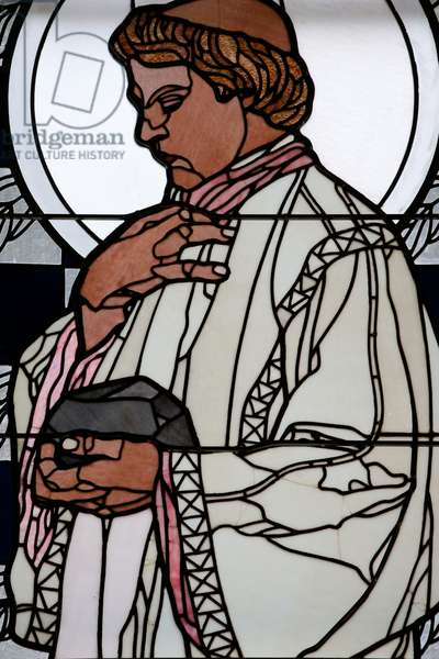 Am Steinhof church (church Leopld), Stained glass by Koloman Moser, St Stephen (photo)