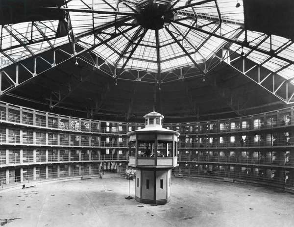 Crest Hill, Illinois: April 7, 1928 The new prison with its circular cell layout and the central guard tower at Stateville Correctional Center follows the panopticon design by British philosopher and prison reformer Jeremy Bentham.  (b/w photo)