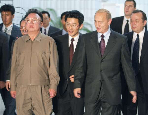 President Vladimir Putin (R) and Visiting North Korean Leader Kim Jong-Il Pictured after their Talks in Vladivostok, Russia on Friday, August 23, 2002.