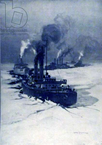 The Russian fleet led by the Icebreaker ship 'Ermack'