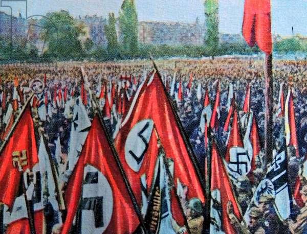 Nazists carrying Swastika flags, Nuremburg,1923