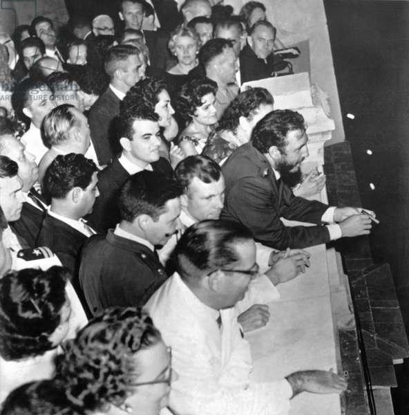 Castro Honors Yuri Gagarin (b/w photo)