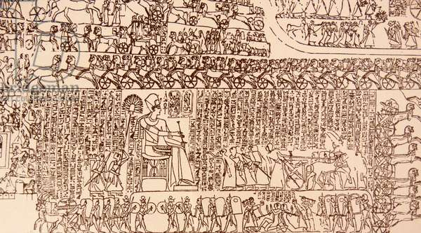 Detail from a freize showing the Battle of Kadesh (Qadesh) between the Egyptian Empire under Ramesses II and the Hittite Empire under Muwatalli II
