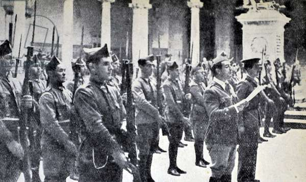Spanish Civil War: In the courtyard of the Alcazar a nationalist company of soldiers stands on parade, 1936