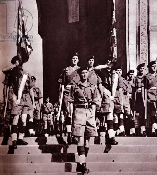 The last remaining British troops leaving India through the Gate of India, 1950s